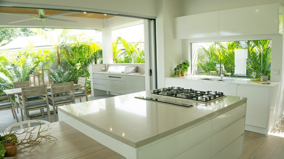 sink moulded into the Caesarstone kitchen benchtops